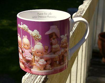 "Moms Fill Life With Precious Moments Large 4 1/4"" Tall Coffee Mug by Enesco 1995"