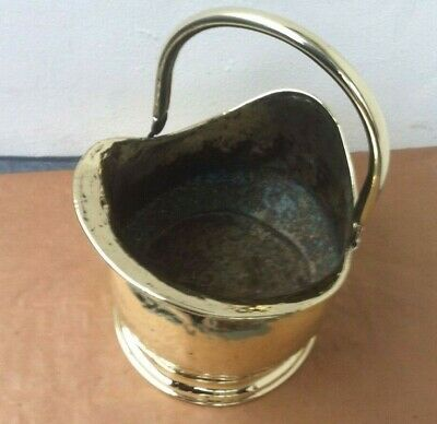 Antique Victorian Brass Fireplace Scuttle Coal Bucket with Copper Rivets
