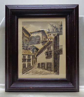 Old SGD Reyes Hacienda Architectural Watercolor Painting in Vintage Wooden Frame