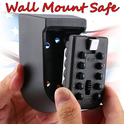 Wall Mounted 4 Digit Security Combination Key Lock Storage Box Safe Outdoor Car