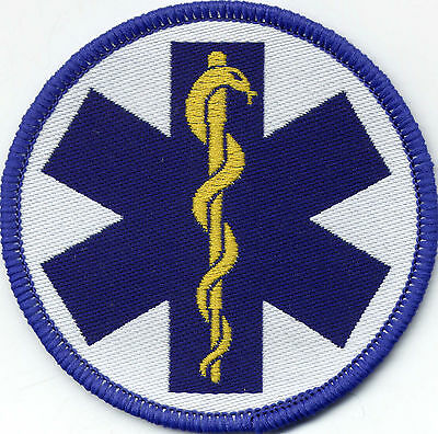 Star of Life Woven Badge Patch 71mm Diameter Circle UK Manufactured
