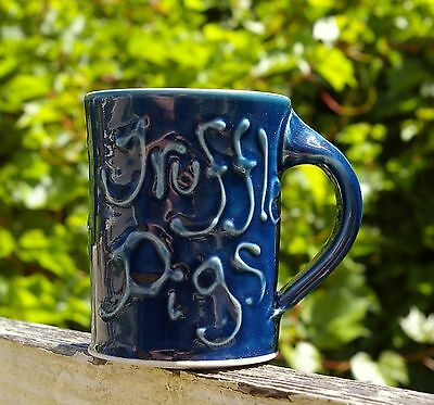 Blue Truffle Pigs Spun Pottery Art Coffee Mug Signed by Artist K Cameron