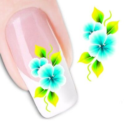 Nail Art Sticker Water Decals Transfer Stickers Blue Yellow Flowers (DX1154)