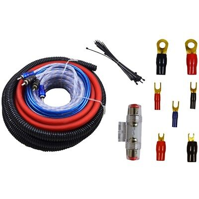 4 Gauge Amp Kit Amplifier Install Wiring Complete 4 Ga Installation Cables 2000W