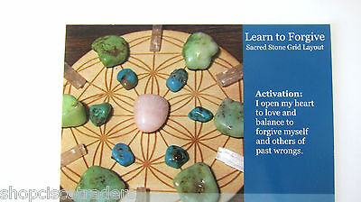 """LEARN TO FORGIVE Crystal Healing Grid Layout Card 4""""x5"""" Cardstock MENTAL Love"""