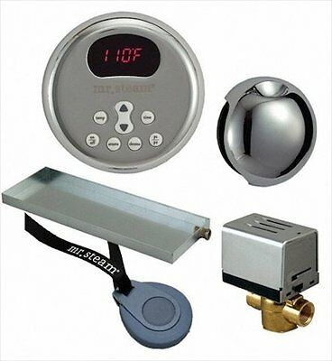 Mr. Steam Residential Butler Itempo Steam Kit W/Round Control Polished Nickel