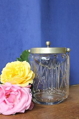 Antique Glass Biscuit Barrel, Biscuit Jar.