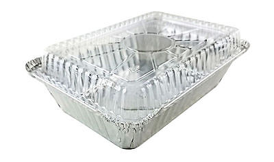 Handi-Foil 2 1/4 lb. Oblong Aluminum Take-Out Food Storage Container w/Dome Lid
