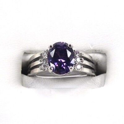R#2666 simulated Purple Amethyst & White Topaz Gems Ladies silver ring size 9.25