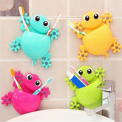 Gecko Bathroom Toothbrush Holder Wall Mount Suction Cup Toothpaste Storage Rack