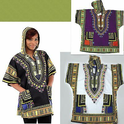 Traditional African Print Dashiki hoodie choice black purple gold white unisex