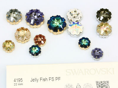 Genuine SWAROVSKI 4195 Jelly Fish Fancy Crystals with Sew On Metal Settings