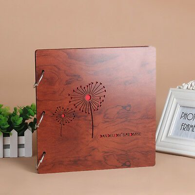 DIY 30Pg 26.9 x 26.4cm Wood Cover 3Rings Photo Album Wedding Scrapbook DANDELION