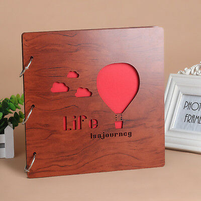 DIY 30Pages 26x26cm Wood Cover 3Rings Photo Album Wedding Scrapbook BALLOON
