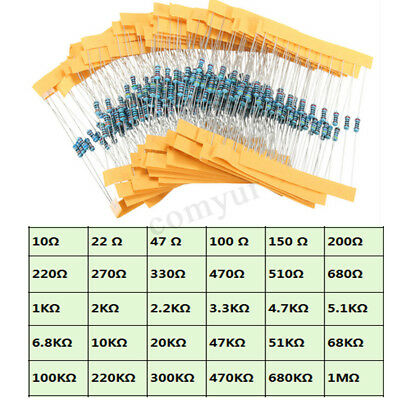 300 Pack 10 Each 30 Values Resistors Metal Film 1/4W 1% Kit / Assortment / Mix