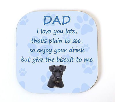 Patterdale Terrier 'I Love You Dad' Coaster  Fun Poem Novelty Gift FROM THE DOG