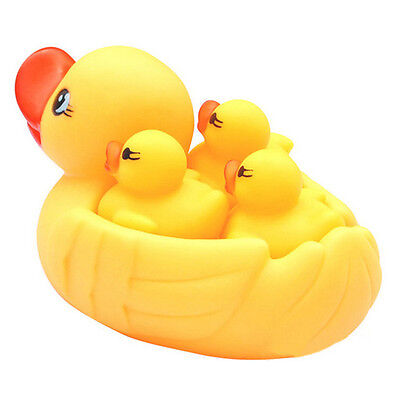 4 Pcs Yellow Rubber Ducks Bathtime Squeaky Bath Toy Water Play Kids Toddler