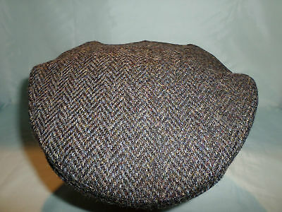 Gents Traditional Hand Woven  Pure Wool Harris Tweed Flat Cap Driving Cap