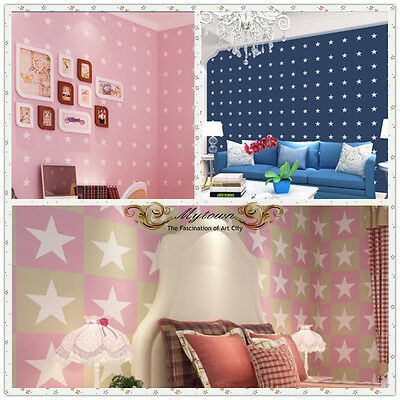 Boy Girl Kids Room Solution 10M Nature Wallpaper Roll Pink Star Navy Blue Star