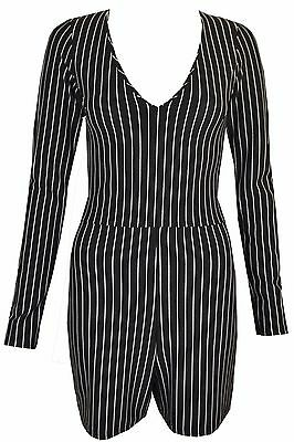 3915e1f6cfd6 New Womens Ladies White   Black Striped Longsleeve Playsuit Size UK 6 8 10  12 14