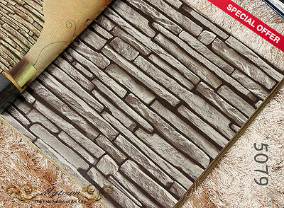 3D Dark Grey Stone Slate Brick Looking Wallpaper Roll Cafe Restaurant Shop #5079