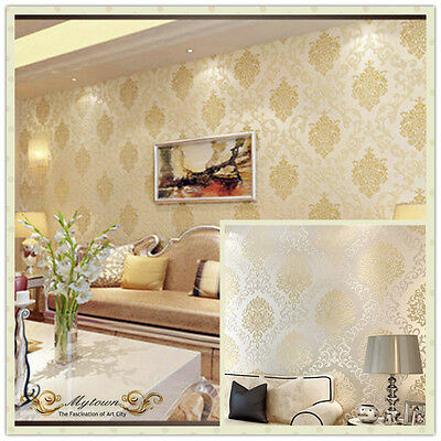 Gold Beige White Luxury European Damask Embossed Wallpaper Roll Home Vip Lounge
