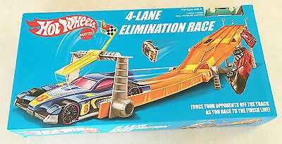 Hot Wheels Retro 4 Lane Elimination Race Track Set Ages 5+ New Toy Play Boys Fun
