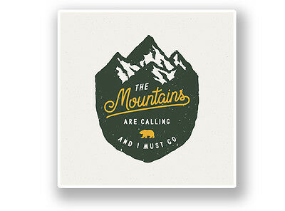 2 x The Mountains Are Calling Vinyl Sticker Laptop Travel Luggage Car #6307