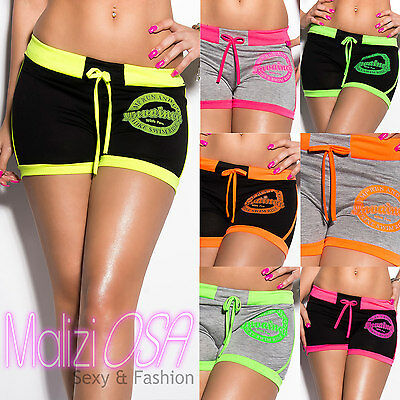 Shorts pantaloncini Donna corti FLUO MADE IN ITALY hot pants Moda Mare Palestra