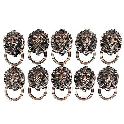 Dresser Drawer Cabinet Door Ring Lion Head Pull Handle Knob 10pcs New Free Ship