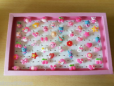 50 kids plastic children's rings joblot party bags wholesale in box / tray kitty
