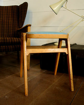 Vintage Retro Stool 60s 70s  - beech blue Leatherette Seat