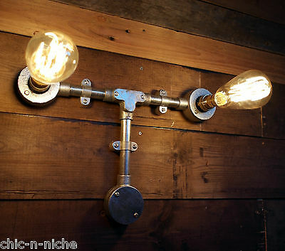 Industrial Wall Pipe Lamp Retro Light Steampunk Vintage Wall Sconce Metal Twin
