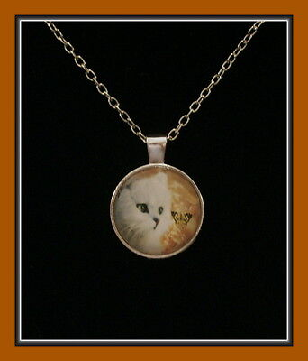 Beautiful White Kitten And Butterfly Silver Plated Pendant With Chain