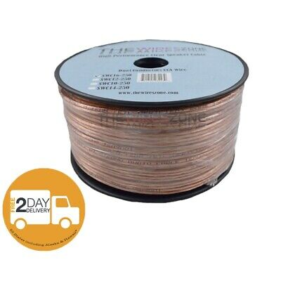 Clear Transparent 250' ft 16 Gauge 16AWG Speaker Wire Cable for Car Home Audio