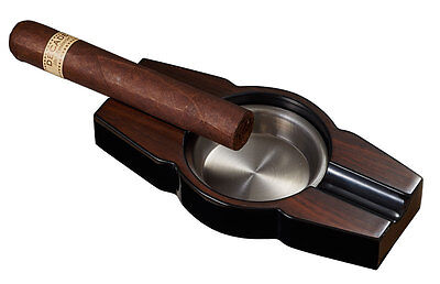 Visol Lacquered Wood Cigar Ashtray with Two Cigar Rests, New in Box