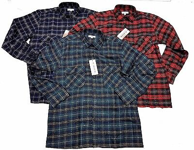Mens Checked Lumberjack Brushed Cotton Long sleeved casual Winter Work Shirt