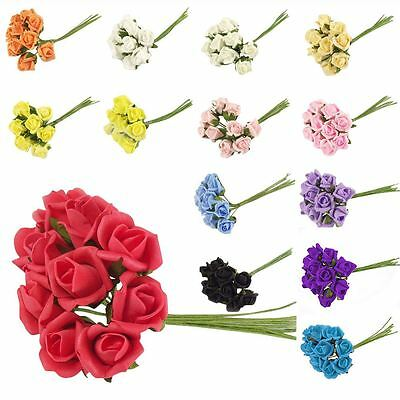 Bunch of 10 Foam Rose Buds - Artificial Flowers Fake Silk Wedding Craft