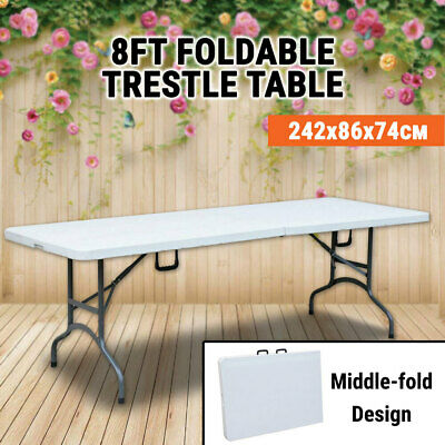 Trestle Table Middle Folding 8 FT 2.4M Portable Picnic Camping Blow Moulded