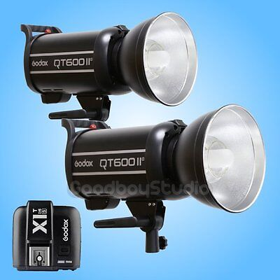 2PCS Godox QT-600IIM 2.4G Studio Strobe Flash Light + X1T-S Wireless Transmitter