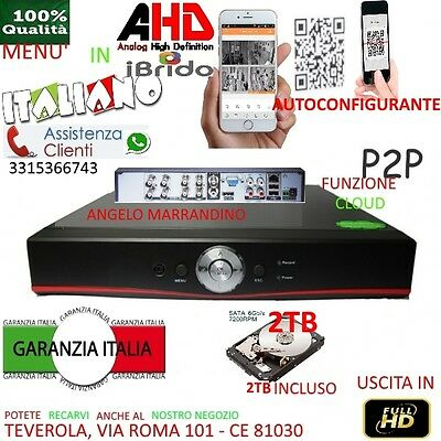 DVR 8 Canali AHD CON HARD DISK 2TB 2000GB P2P CLOUD WEB SERVER PTZ HDMI IBRIDO