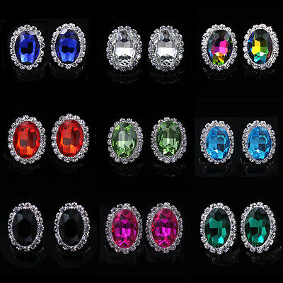 Women Multicolor Imitation Gemstone Crystal Ear Stud Earrings Wedding Jewelry