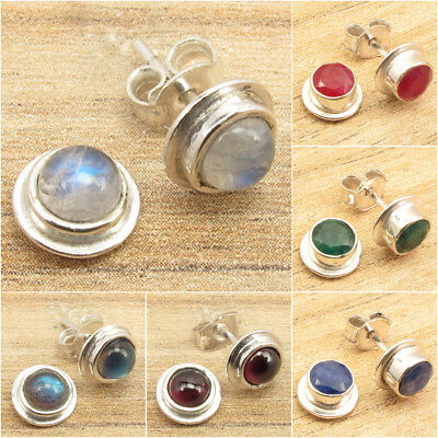 925 Silver Plated Rare MOONSTONE & Other Gemstone Variation STUDS POST Earrings