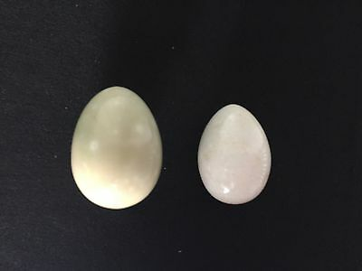 "Vintage 3"" Tall Marble Stone Eggs LOT OF 2! No Reserve!"