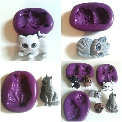 CATS Silicone Moulds Cake Decorating Polymer Clay Fondant Icing Chocolate Fimo