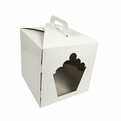 White Giant Cupcake Boxes with Handles and Windows! High Gloss Finish Bulk