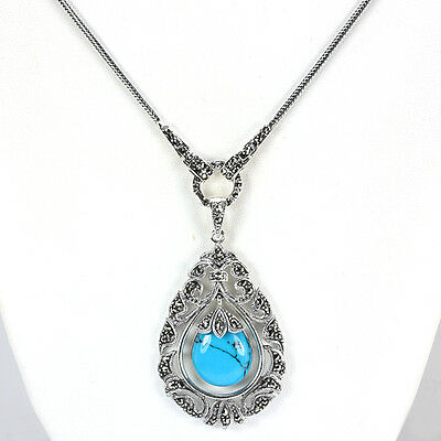 Sterling silver 925 genuine turquoise marcasite pendant necklace sterling silver 925 genuine turquoise marcasite pendant necklace 24 inch aloadofball Images