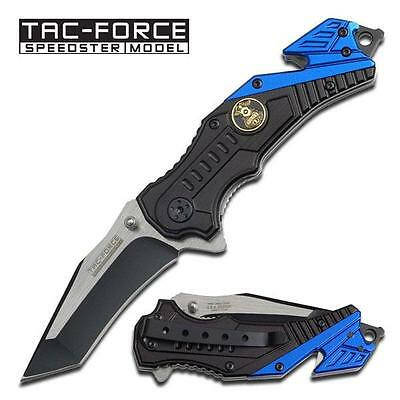 Tac-Force Folding Spring Assisted Tactical Rescue Blue Police Pocket Knife NEW