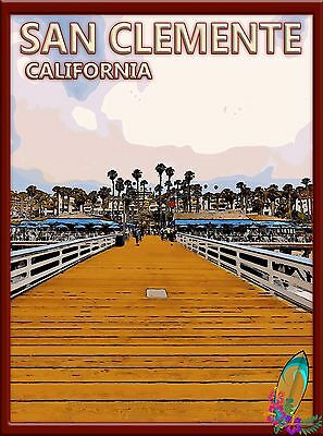 San Clemente Beach Pier California United States Travel Advertisement Poster