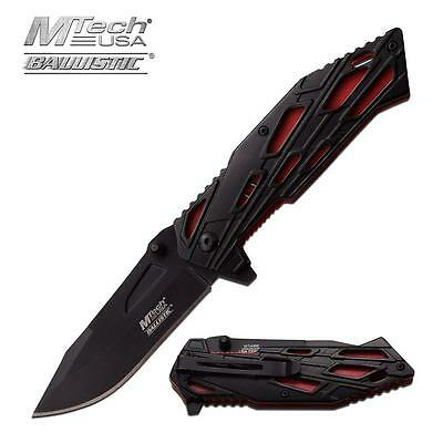 M-Tech Folding Tactical Spring Assisted Military Black Red Rescue Pocket Knife